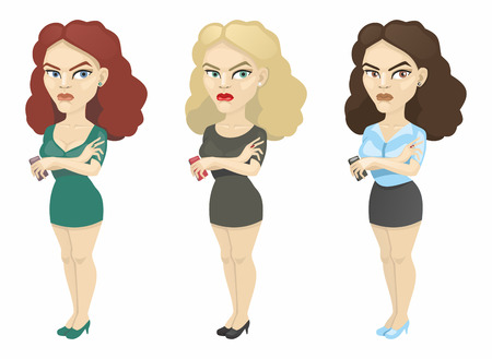 resentment: brunette, blonde and brown hair with a mobile phone Illustration