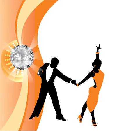 incendiary: couple dancing on orange background Illustration