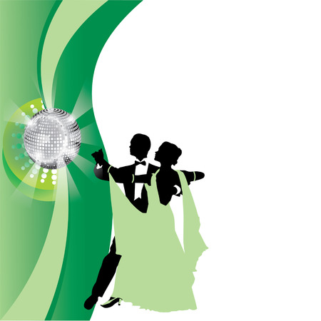 couple dancing a waltz on a green background