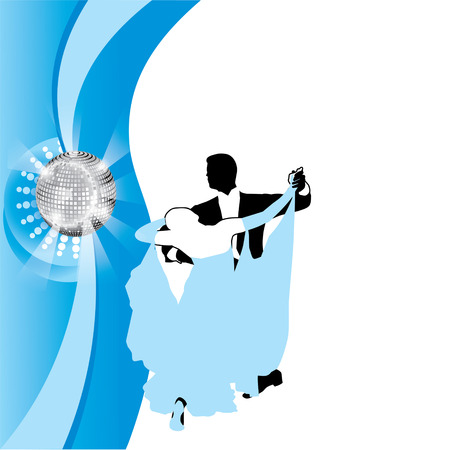 incendiary: couple dancing a waltz on a blue background Illustration