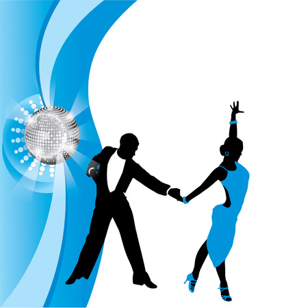 dancing couple on a blue background
