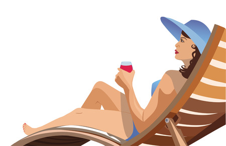 girl lying in a deck chair and drinking wine Vectores