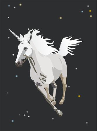 unicorn galloping in the night sky Vector