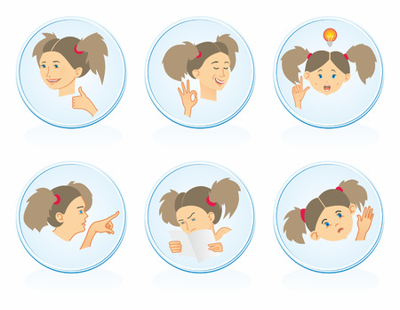 palm reading: Icons with girls Illustration