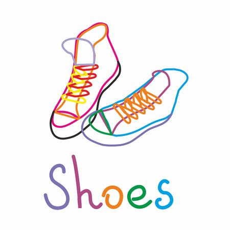 color contour of sports shoes