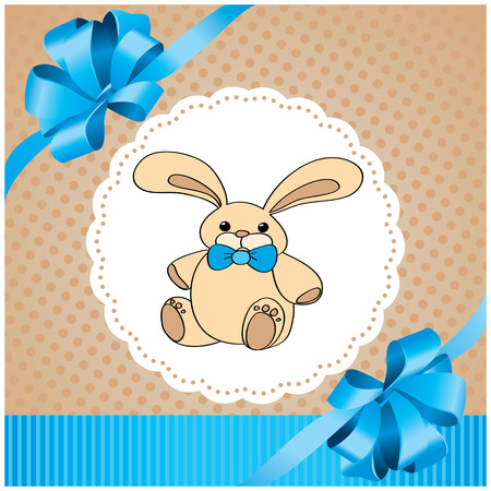 vector background with rabbit and blue bow 일러스트