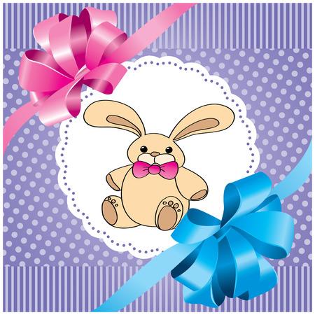 토끼와 라일락 나비와 벡터 배경