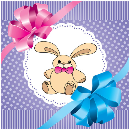 vector background with rabbit and lilac bow