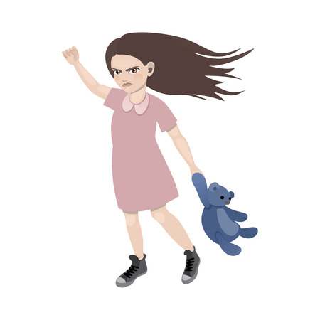 offended: Offended girl holding a teddy bear