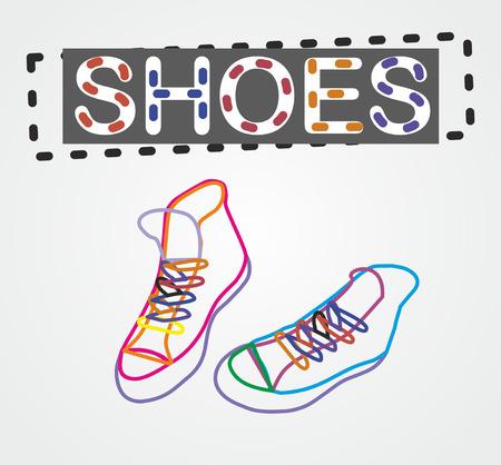 negligent: vector color contour shoes Illustration