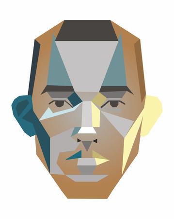ベクトルの幾何学的図形の男の顔  イラスト・ベクター素材