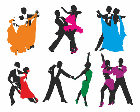 square dancing: vector set of colored dancing couples Illustration