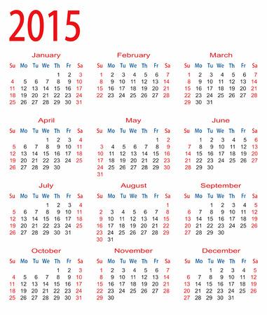 saturday night: simple calendar 2015 Illustration