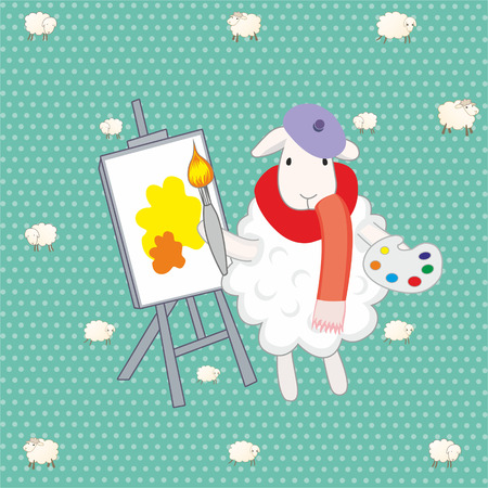 humility: lamb artist over green background Illustration