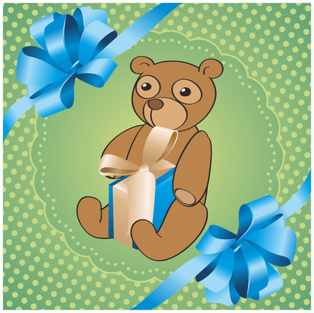 square green background with bear