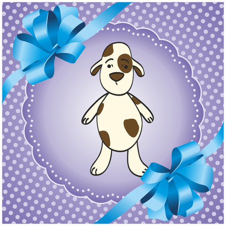 purple square background with a dog