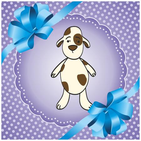 강아지와 함께 보라색 사각형 배경 일러스트