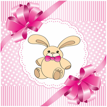 square pink background with a toy hare