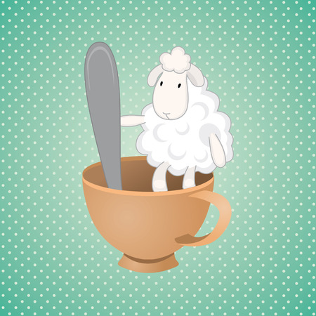 humility: funny lamb over green background