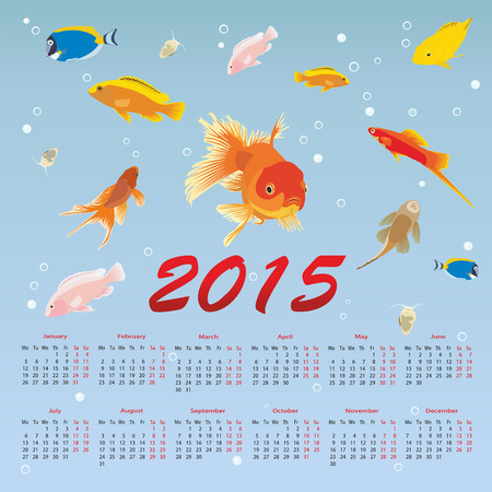 calendar 2015 with fish Vector