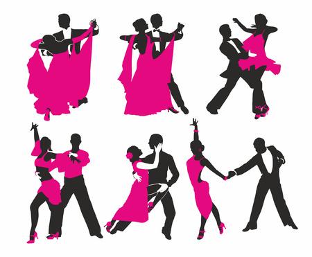zwart en magenta silhouet van paar dansen Stock Illustratie