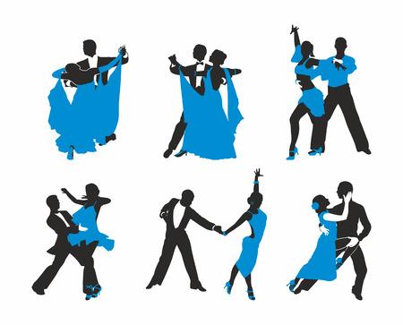 set dancing couples Stock Illustratie