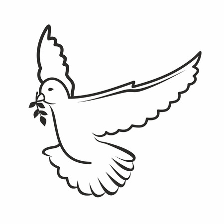 black outline of a dove Stock Vector - 27774026