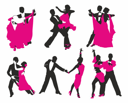 ballroom dancing: vector set of dancing couples