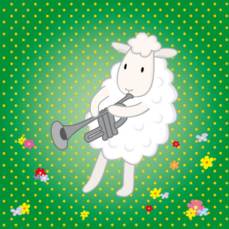 humility: lamb musician on a green background Illustration