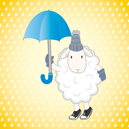 humility: sheep with an umbrella on a yellow background