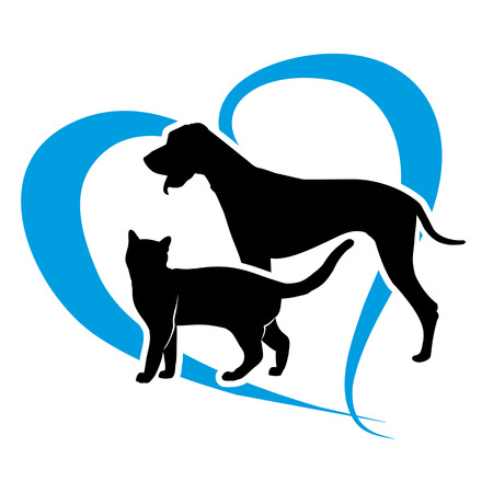 cat and dog on a blue heart  Vectores
