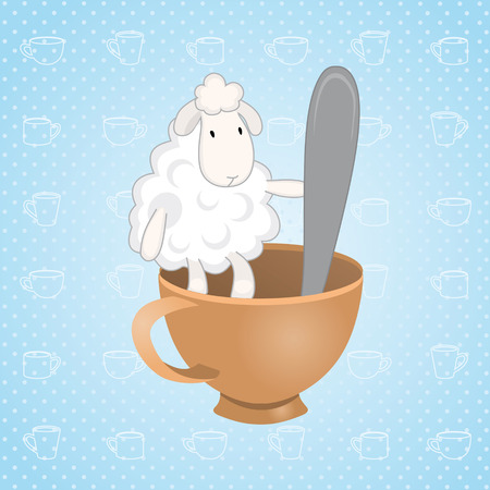 lamb sitting in a cup with a spoon Vector