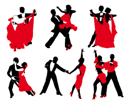 set of red and black couples Vector