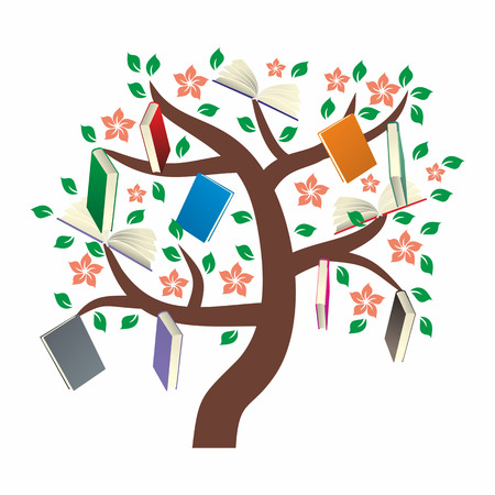 knowledge tree: Knowledge Tree with leaves, flowers and books