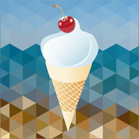 cherry and whipped cream on abstract background beach Stock Vector - 29121863