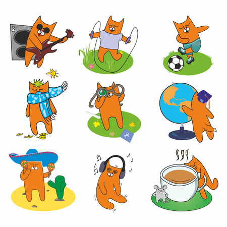 active set of cheerful red cats Vector