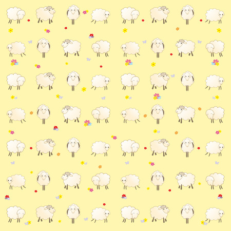 yellow wallpaper with baby lambs