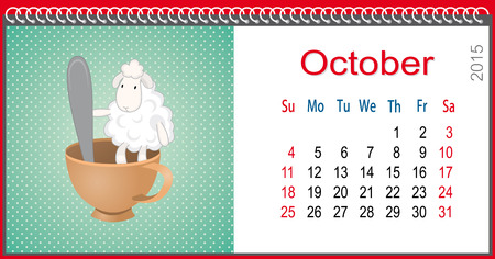 Calendar for October and lamb sitting in a cup Vector