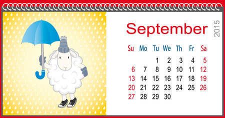ful: Calendar for September and lamb with an umbrella in the rain