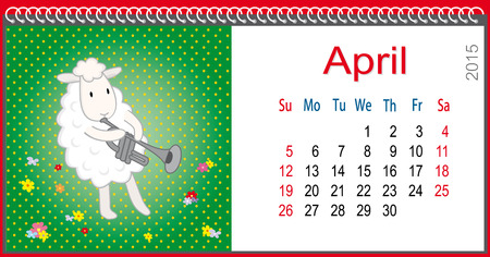 Calendar for April and lamb plays the trumpet Vector