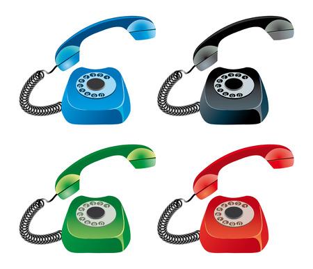 blue, red, green, black phones  Vector