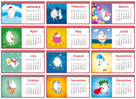 set of calendars for each month in 2015 with active sheep Vector