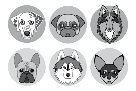 pug nose: black and white icons of different breeds of dogs Illustration