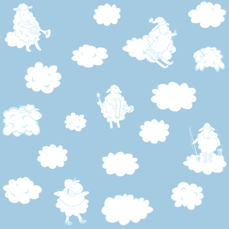 vector wallpaper with clouds for a childs room Vector
