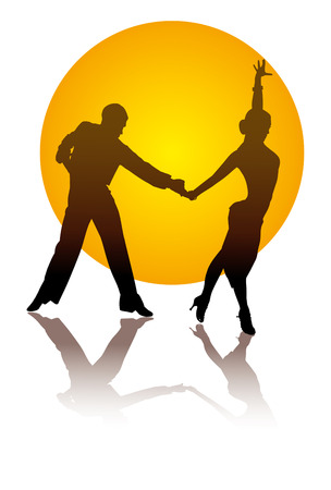 incendiary: dancing couple on a background of orange circle
