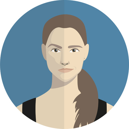 rigorous: cartoon portrait of a girl with different grimaces in the blue circle Illustration