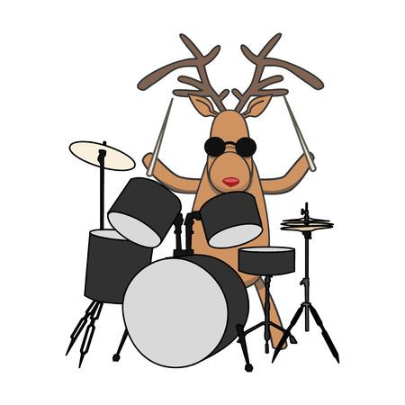 vector Christmas reindeer plays drums