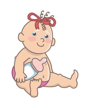 Blue-eyed baby girl holding a bottle