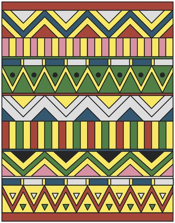 나일 강: 컬러 라인, 사각형과 삼각형의 이집트 장식 일러스트