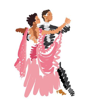 カップルのダンスの水彩スケッチ  イラスト・ベクター素材